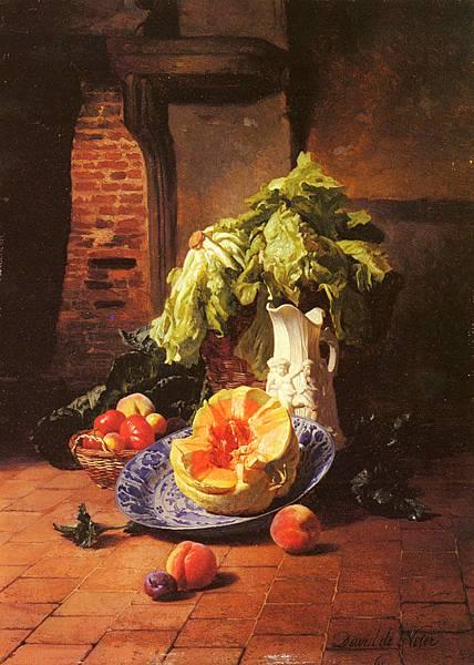 David Emile Joseph de Noter (1818-1892)_A_Still_Life_With_A_White_Porcelain_Pitcher_Fruit_And_Vegetables