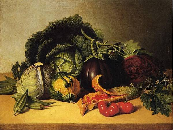 Still Life- Balsam Apples and Vegetables - (James Peale