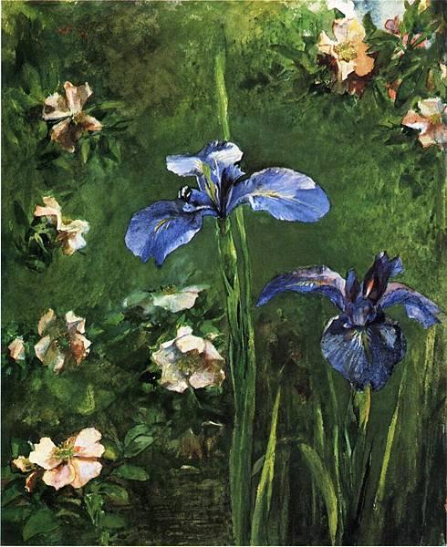 John La Farge (1835-1910)Wild Roses and Irises