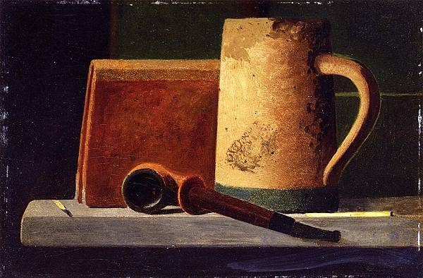 John Frederick Peto (1854-1907)-Mug, Pipe and Book in Window Ledge - (John Frederick Peto