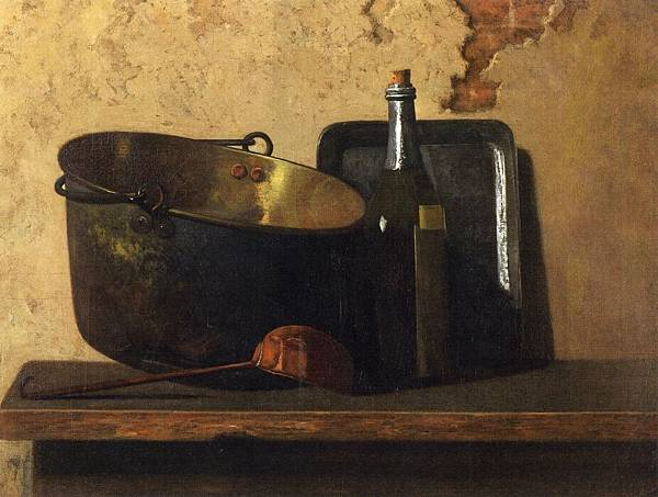 John Frederick Peto (1854-1907)-Wine and Brass Stewing Kettle aka Preparation of French Potage - (John Frederick Peto - circa 1890-1899)