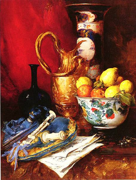 Antoine Vollon (1833-1900)_A_Stiil_Life_With_A_Bowl_Of_Fruit