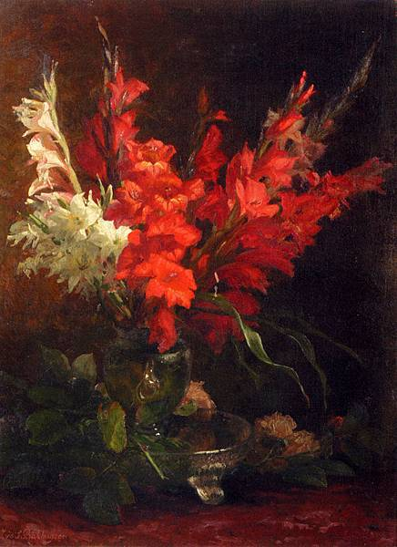 Blaise Alexandre Desgoffe (1830-1901)_A_Still_Life_With_Gladioli_And_Roses