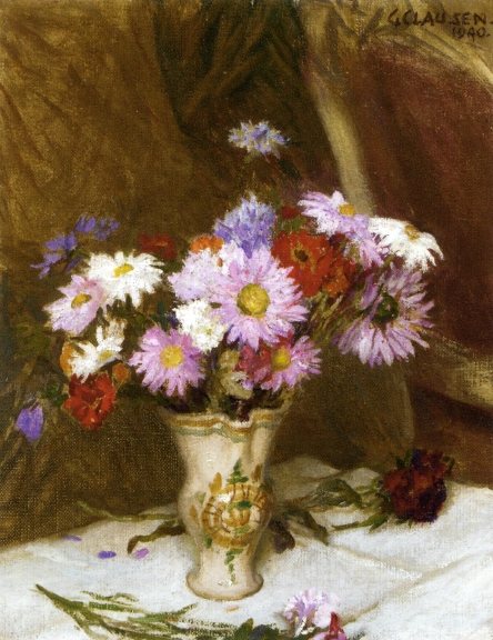 Sir George Clausen (1852-1944) Still Life with Michaelmas Daisies and Cornflowers in a Jug on a White Cloth draped Table