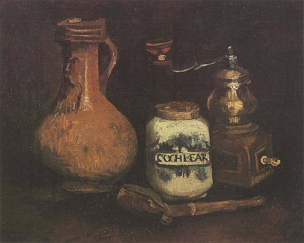 Still-Life-with-Coffee-Mill,-Pipe-Kit-and-Cantharis,-Nuenen-1884