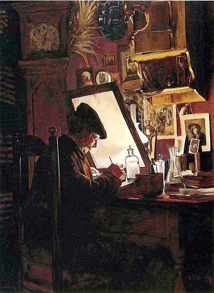 Charles Frederick Ulrich (1858-1908) An Amateur Etcher aka An Etcher in His Studio -c.1882