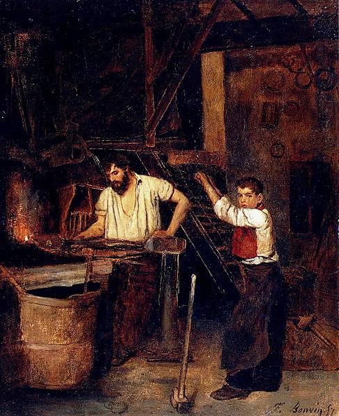 Francois Bonvin (1817-1887)-Bonvin_Francois_Saint_The_Blacksmiths_Shop