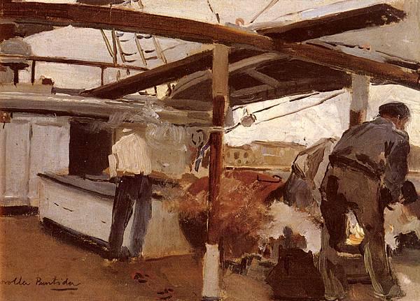 Joaquin Sorolla y Bastida (1863-1923)-Bastida_Joaquin_Sorolla_y_Two_Men_On_A_Deck