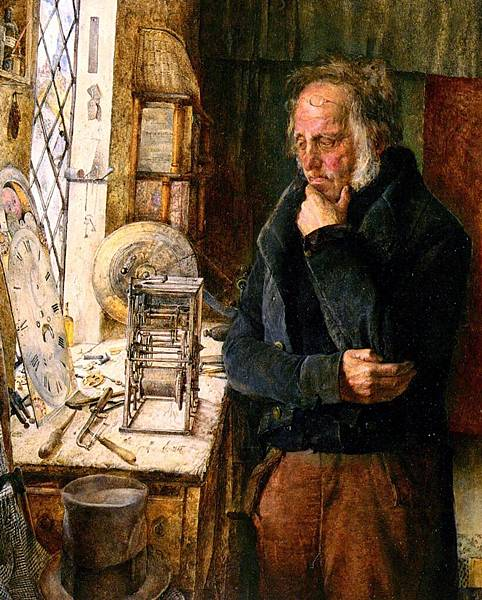 James Campbell (1828-1893)_Our_Village_Clockmaker_Solving_A_Problem