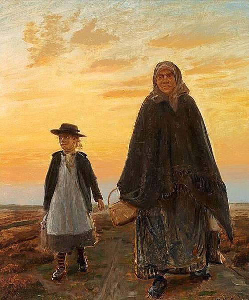 Ancher, Michael Peter (1849-1927) Michael_Ancher_-_Aftenstemning_p疇_Skagen_med_Elsie_spadserende_med_en_lille_pige_-_1849-1927