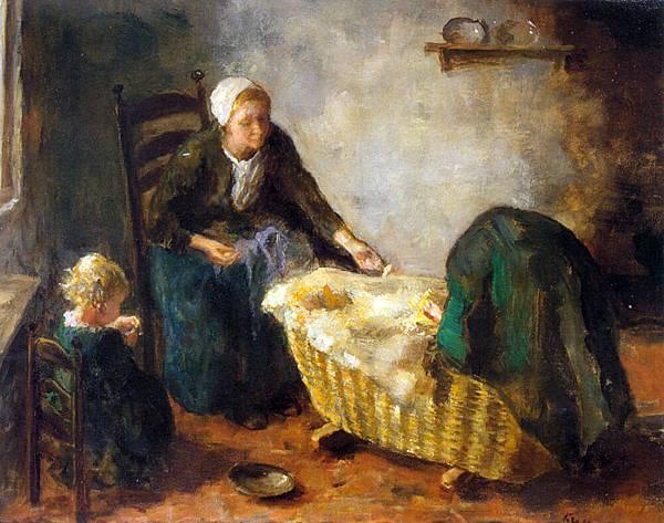 Jacob Simon Hendrik Kever (1854-1922)_Amusing_the_Baby_Oil_On_Canvas