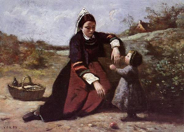 Jean-Baptiste-Camille Corot (1796-1875) Breton Woman With Her Little Girl