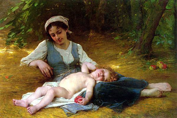 Leon Bazile Perrault (1832-1908)-Young mother and sleeping child