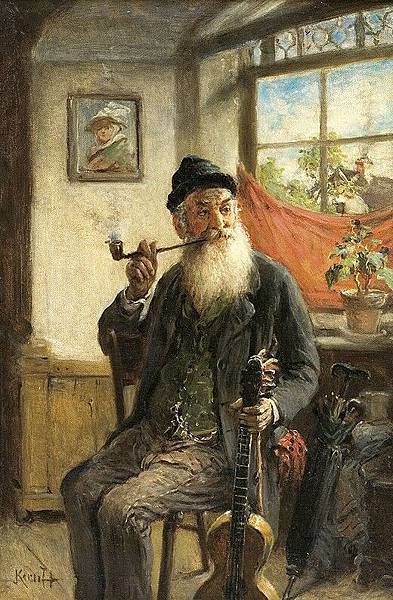 Kern, Hermann Armin (1839-1912) - Man With Guitar