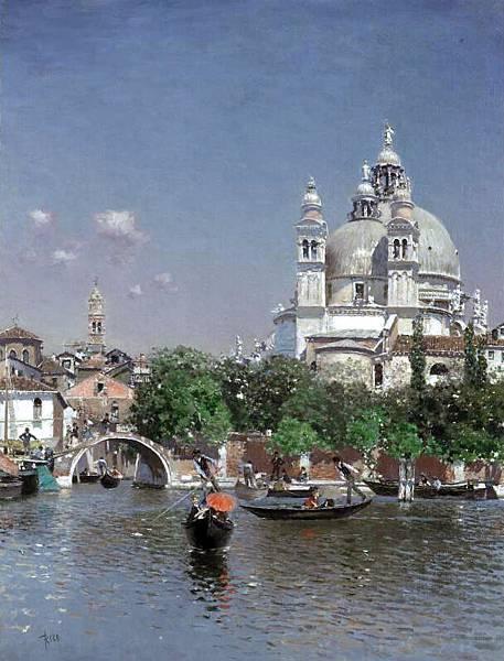 Martin Rico y Ortega (1833-1908)-Venetian Lagoon Near the Church of Santa Maria della Salute