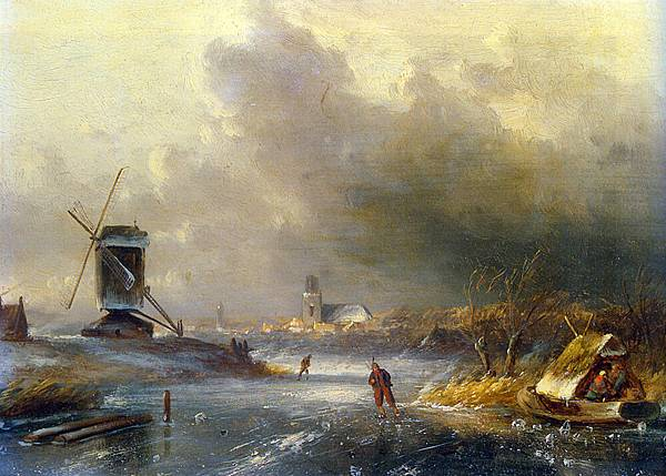 Leickert_Charles_Winter_Landscape_with_Skaters_on_Frozen_River_Oil_On_Panel
