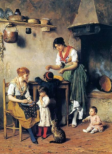 Eugene de Blaas (1843-1931) Mother's Little Helper
