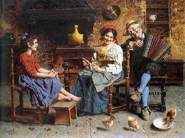 Eugenio Zampighi (1859-1944)_A_Happy_Tune_Oil_On_Canvas