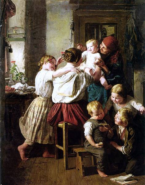 Ferdinand Georg Waldmuller (1793–1865) Children_Making_Their_Grandmother_a_Present_on_Her_Name_Day