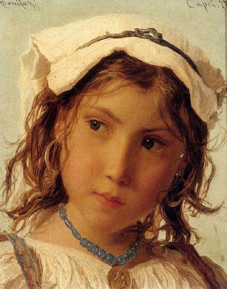 Adriano Bonifazi (1858 – 1914, Italian) _peasant-girl-from-capri