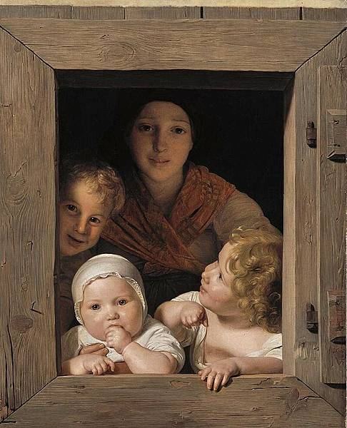 Ferdinand_Georg_Waldmüller_-_Young_Peasant_Woman_with_Three_Children_at_the_Window_-_WGA25428
