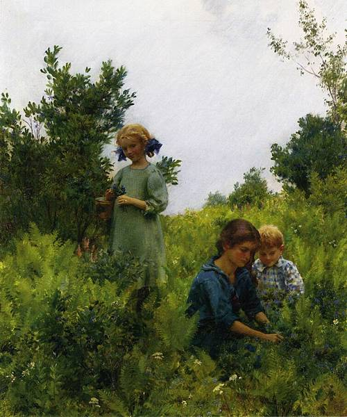 Charles Courtney Curran (1861-1942)-Blueberries and Ferns.jpg