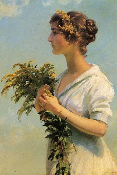 Charles Courtney Curran (1861-1942)-Girl with Goldenrod.jpg