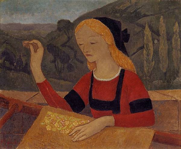 Paul Serusier (1864-1927) Embroiderer in a Landscape of Chateauneuf.jpg