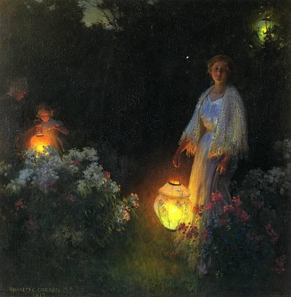 Charles Courtney Curran (1861-1942)-The Lanterns.jpg