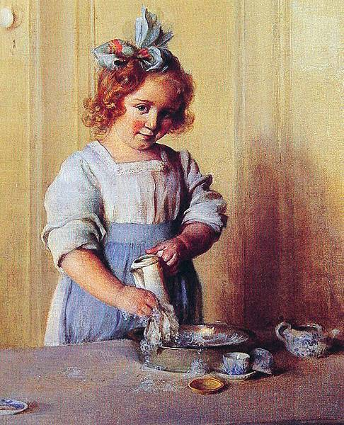 Charles Courtney Curran (1861-1942) Washing Dishes. Emily and Her Tea Set-1935.jpg