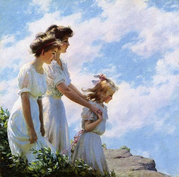 Charles Courtney Curran (1861-1942)-On the Cliff.jpg