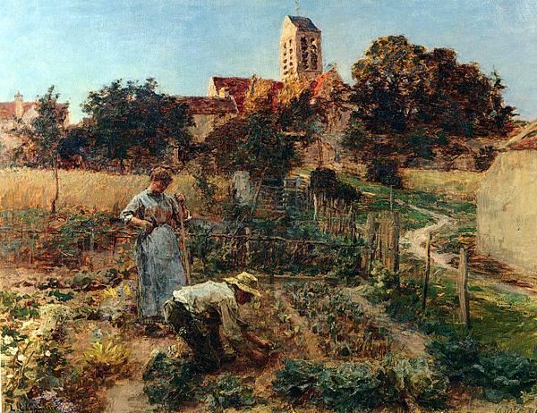Leon Augustin L'hermitte (1844-1925)-Lhermitte_Leon_Augustin_Au_Jardin,_Charteves,_ Pres_De_Mont-Saint-Pere.jpg