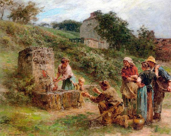 Leon Augustin L'hermitte (1844-1925)-Lhermitte_Leon_Augustin_A_la_fontaine_c1914_Oil_On_Canvas.jpg
