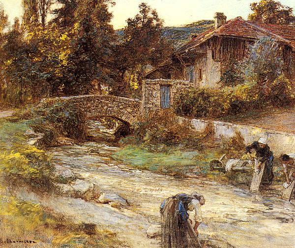 Leon Augustin L'hermitte (1844-1925)-Lhermitte_Leon_Augustin_Washerwomen_At_A_Stream_With_Buildings_Beyond.jpg