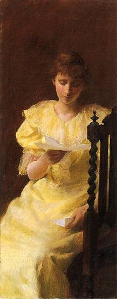 Charles Courtney Curran (1861-1942)-Lady in Yellow.jpg