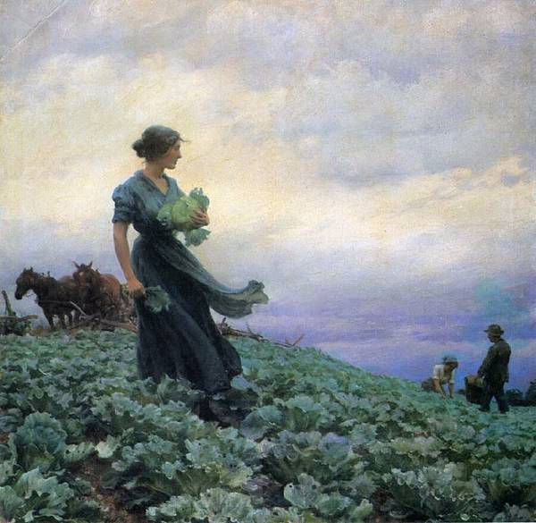 Charles Courtney Curran (1861-1942)-The Cabbage Field.jpg