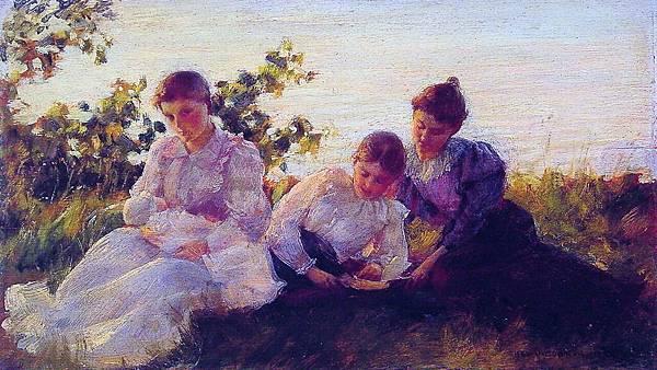 Charles Courtney Curran (1861-1942)-Charles Courtney Curran (1861-1942) Three Women-1894.jpg