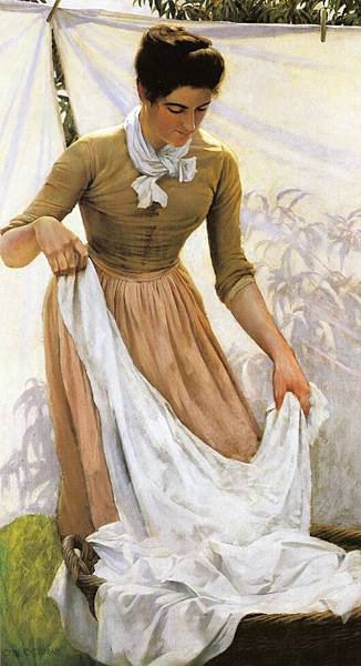 Charles Courtney Curran (1861-1942)-Hanging out Linen.jpg