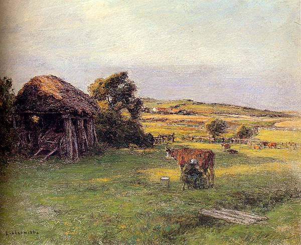 Leon Augustin L'hermitte (1844-1925)-Lhermitte_Leon_Landscape_With_A_Peasant_Woman_Milking_A_Cow(1).jpg