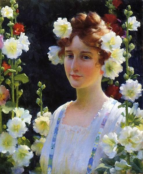 Charles Courtney Curran (1861-1942)-Among the Hollyhocks .jpg