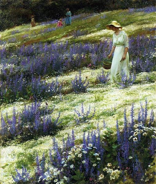 Charles Courtney Curran (1861-1942)-Ladies on a Hill.jpg
