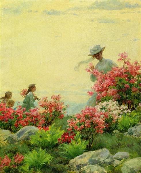 Charles Courtney Curran (1861-1942)-Among the Wild Azaleas.jpg
