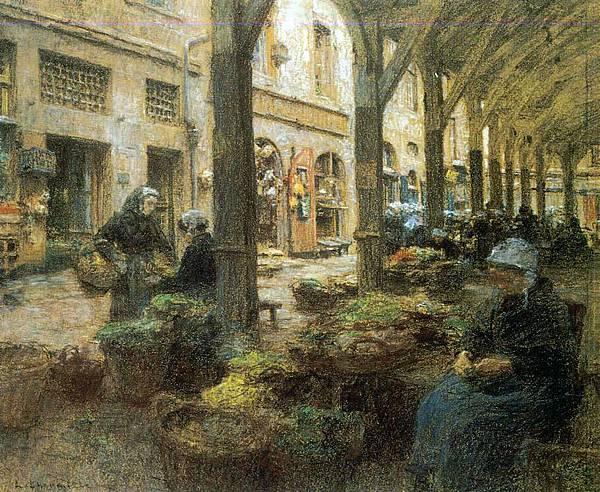 The Covered Vegetable Market, St Malo (no.2) - (Leon Augustin Lhermitte - 1893).jpg