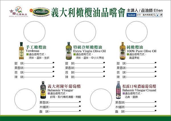 義大利橄欖油品嚐會_品油表格