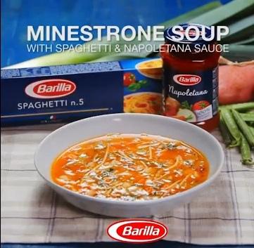 Minestrone Soup with Spaghetti Napoletana