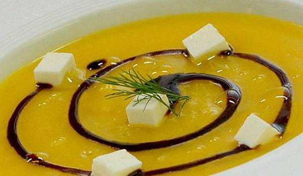 【奧利塔食譜】南瓜乳酪濃湯佐巴薩米可醋 (Quartirolo cheese with cream of pumpkin and balsamic vinegar of Modena P.G.I.)