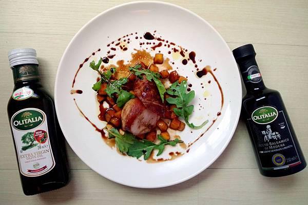煎烤帕瑪火腿豬菲力卷與摩典納陳年葡萄醋