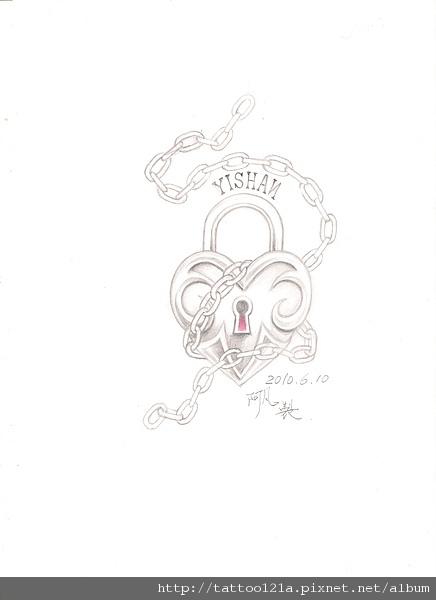 心形鎖頭tattoo.愛情枷鎖<設計稿>.