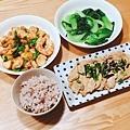 阿乃私廚: 晚餐, 五穀米飯、麻油青江菜、紅燒蝦仁杏鮑菇、和風照燒豬肉。