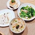 阿乃私廚: 今日中式早餐:蔬菜蘑菇什錦稀飯、清炒大陸妹、荷包蛋、豆腐